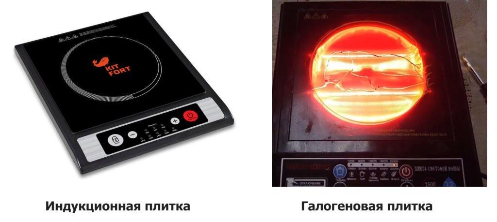 галогеновая плита и индукционная разница