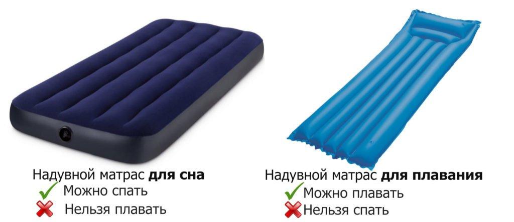 Надувной матрас для сна и плавания: в чем разница