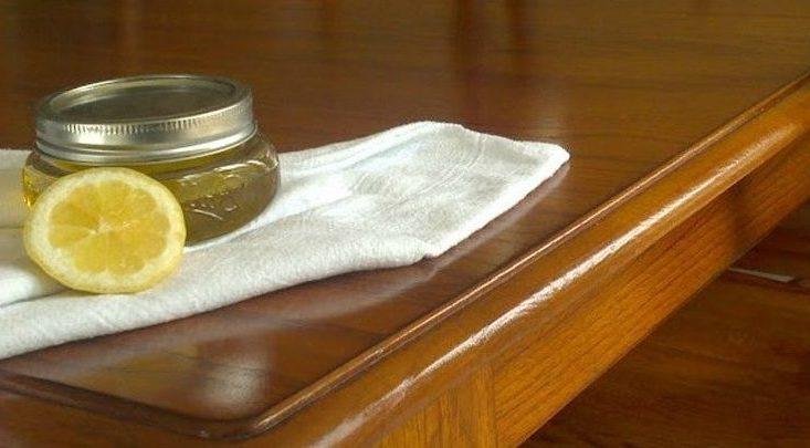 как убрать царапины с полированной мебели - лимонный сок и масло