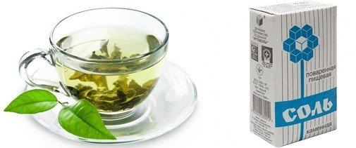 Смесью из зеленого чая и соли