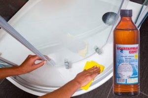 очистка душевой кабины при помощи нашатырного спирта